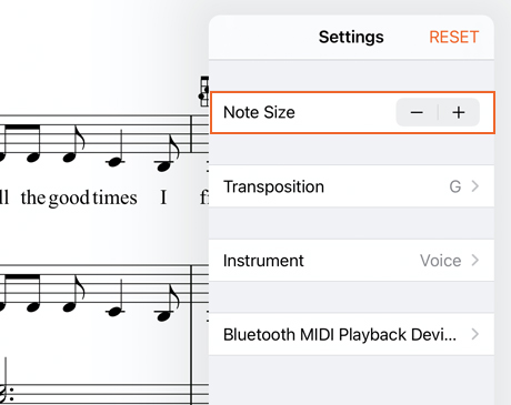 Increase music note size
