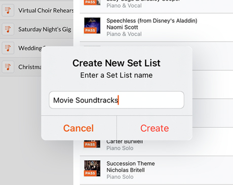 Easily create and name new set lists