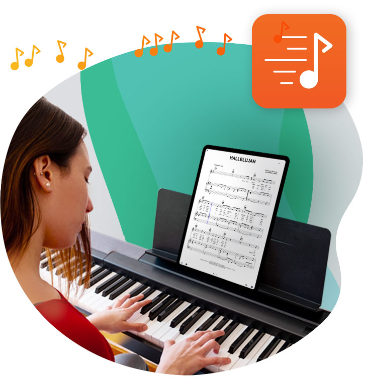 Pianist using our sheet music app